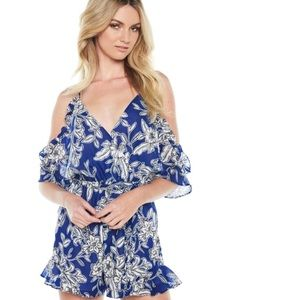 Bardot Sicily Cold Shoulder V-Neck Floral Romper